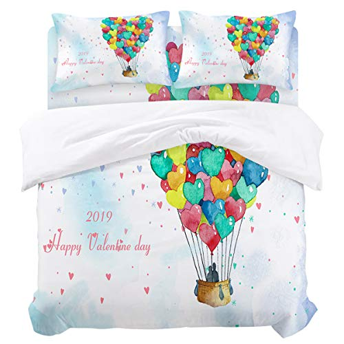 Twin Duvet Cover Sets 4 Piece Bedding Set with 2 Decorative Pillow Shams, Flat Sheet for Adult/Kids/Teens/Children, Happy Valentine's Day Sweet Lovers on The Colorful Heart Hot Air ()