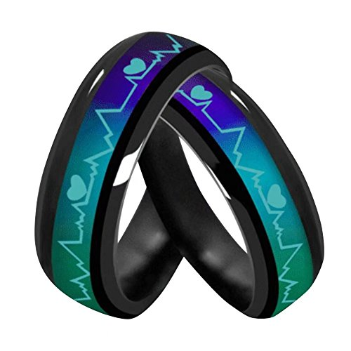 Atongham ECG Heartbeat Mood Ring Changes Color of The Temperature of Your...