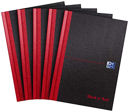 Oxford Black n' Red A4 192 Pages Matte Casebound Hard-Back Ruled Notebook (Pack of 5) Pack of 5 (A5)