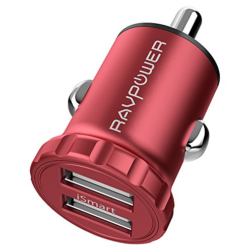 RAVPower 24W 4.8A Super Mini Dual USB Car Adapter with iSmart 2.0 Charging Tech for iPhone X / 8 / 7 / 6s / Plus, iPad Air / mini - Red [Upgrade Version]