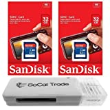 2 PACK - SanDisk 32GB SD HC Class 4 Secure Digital High Speed SDHC Flash Memory Card SDSDB-032G 32G 32 GB GIGS (S.B32.RTx2.562) LOT OF 2 - Retail Packaging