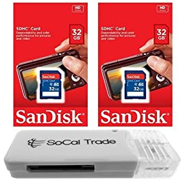 2 PACK - SanDisk 32GB SD HC Class 4 Secure Digital High Speed SDHC Flash Memory Card SDSDB-032G 32G 32 GB GIGS (S.B32.RTx2.562) LOT OF 2 - Retail Packaging 9 SanDisk 32GB SD HC Class 4 Memory Card Memory Card for compatible digital camera's, gps devices, car radio stereo systems, printers and other SD compatible devices SoCal Trade  SD HC XC USB 2.0 Memory Card Reader (reads up to 128GB)