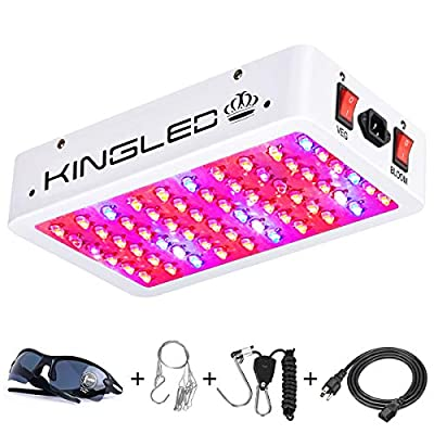 King Plus 600W/1000W/1200W Double Chips LED Grow Light Full Spectrum for Greenhouse and Indoor Plant Flowering Growing (10w LEDs)