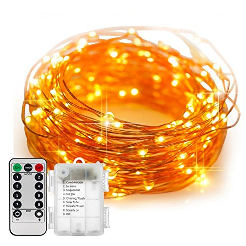 ARDUX 20 feet 60 LEDs Waterproof Golden Wire Fairy String Lights with 8 Modes Remote Control, Warm White Battery Operated Starry String Light for Home Garden Dcor