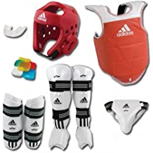 ADIDAS COMPLETE TAEKWONDO SPARRING GEAR SET WITH SHIN INSTEP - RED - adult-medium