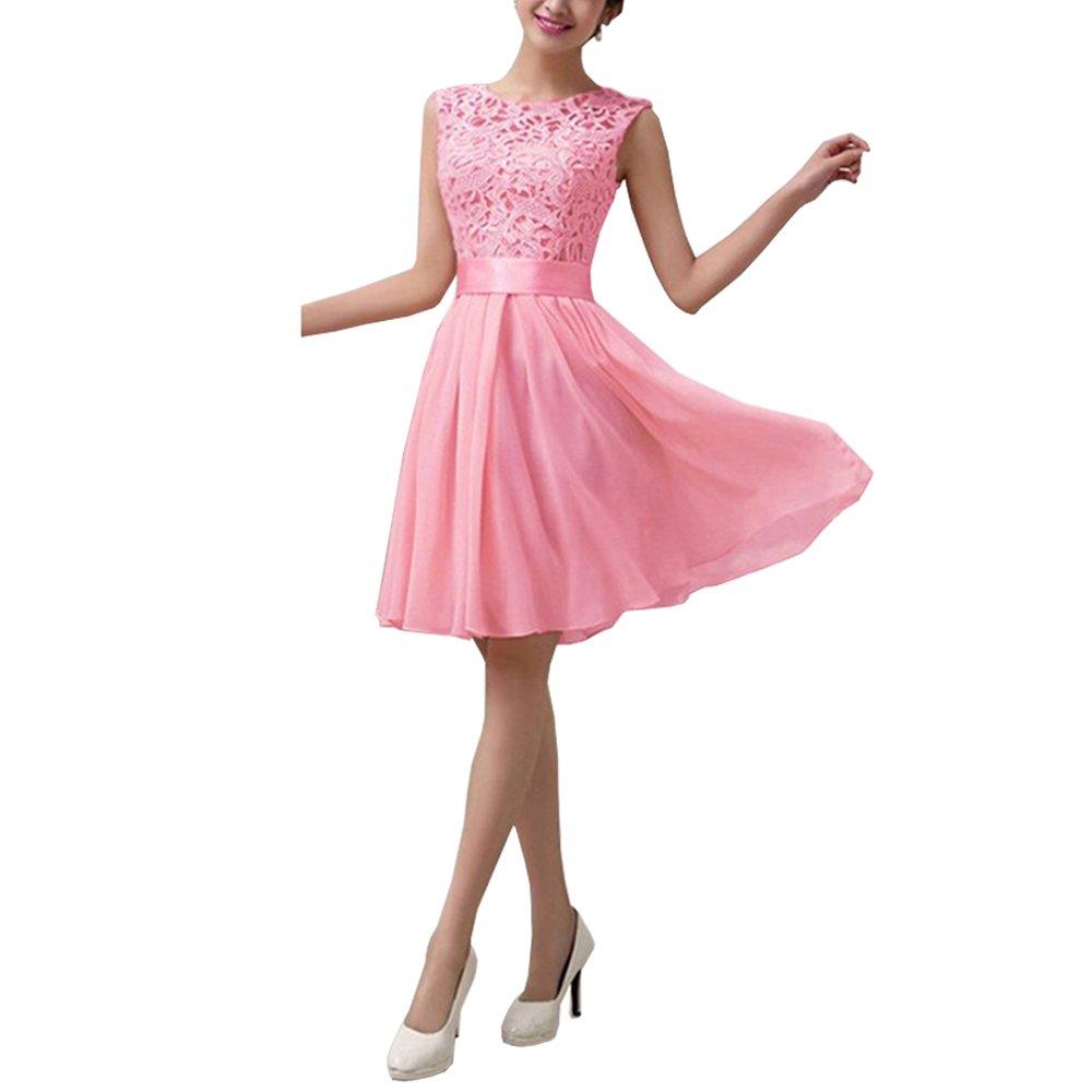 Eiffel Women's Lace Chiffon A-line Wedding Bridesmaid Short Mini Dress Skirt Eiffel Store 7560b