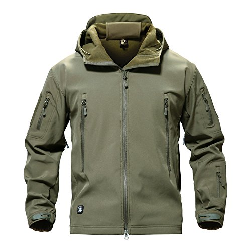 TACVASEN Men Windproof Softshell Tactical Hoodie Fleece Hunting Jacket Coat Army Green L
