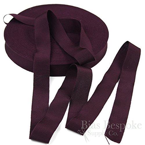 3 Yards of Vera 1'' Cotton & Viscose Petersham Grosgrain Ribbon, Black Grape, Made in Italy
