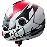 Steelbird Mens ISI Certified Printed Helmet - SB-39 Rox Speed-R with Plain Visor (Large 600MM, Mat White Black with Red)