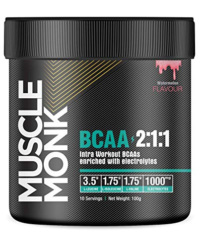 MuscleMonk BCAA 2:1:1 Intra-workout Amino Acid Powder for Energy & Muscle Recovery (100g, Watermelon)