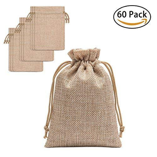 24cbe8b70c20 60 Pieces Burlap Bags with Drawstring - 5.3x3.8 inch Drawstring Gift Bags  Jewelry Pouch for Wedding Party DIY Craft and Christmas