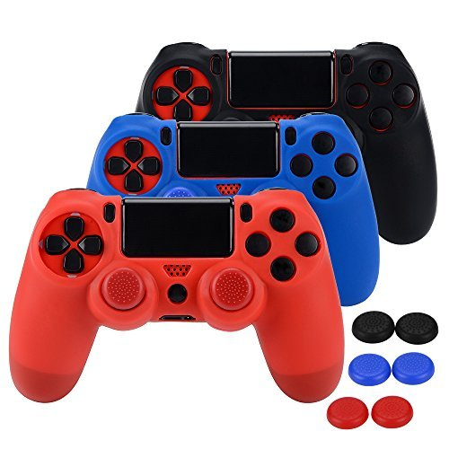 ASIV Silicone Protective Skin Case Non-slip for PS4 Controller x 3 (Black + Red + Blue) + Thumb Grips Attachments x 6 - Non Slip Protective Skin