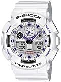 CASIO G-Shock GA-100A-7AER - Reloj de caballero de cuarzo, correa de resina color blanco (con alarma, cronómetro, luz)