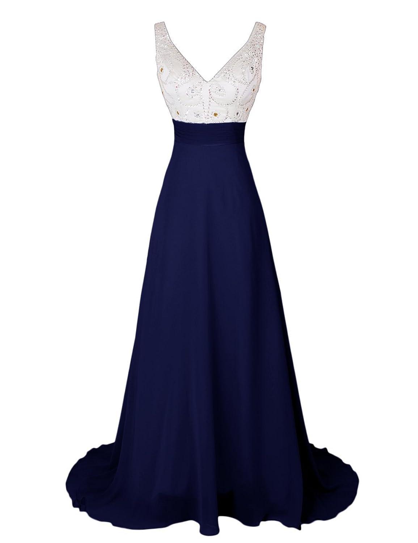 Dressystar Beaded V Neck Prom Dresses Long Chiffon Evening Dress Sleeveless