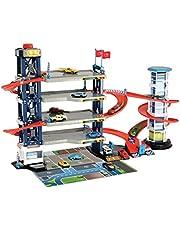 Dickie Toys 203749008 - Parking Garage, parkeergarage, speelset, parkeerhuis, 4 etages, lift, 4 Die-Cast voertuigen, 1 helikopter, licht & geluid, meerkleurig