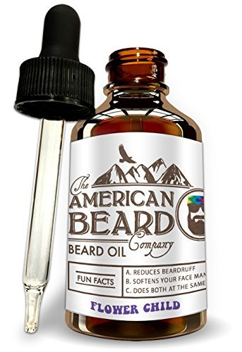 Citrus Scent Flower Child Beard Oil for Men, Leave in Conditioner and Softener, Organic and Helps with Beard Growth and Thickening, Dandruff and Itch Reducer, Made In The USA, Comes with Dropper (Cup Beauty Scented American)