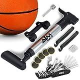 Aim High Pro. Portable Frame Mount Mini Bike Pump fits Presta & Schrader – Glueless Bicycle Repair Kit - Multi Tool - Tire levers - Ball Needle