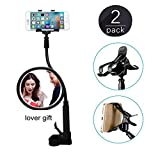 hellosy®Cell Phone Holder, Universal Cell Phone Clip Holder Lazy Bracket Flexible Long Arms for iPhone,Fit On Desktop Bed Mobile Stand for Bedroom, Office, Kitchen(Black)+a Free Gift
