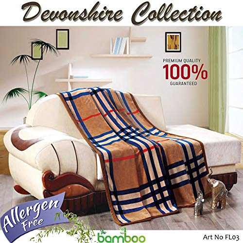 - Devonshire Collection Lightweight Super Soft Cozy Luxury 100% Bamboo Bed Throw Blanket - Warm Fluffy Beautiful Plaid Pattern and Color Variation (King)