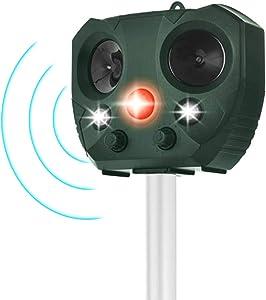 2021 Solar Ultrasonic in Repellent Defender Rat, Squirrel, Deer, Raccoon, Skunk, Rabbit, Mole, Dog, Cat, Waterproof with Motion Detector