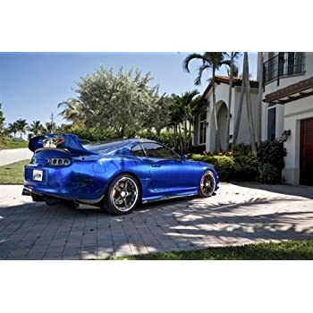 Toyota Supra Single Turbo Right Rear Blue on 360 Forged wheels HD Poster 48 X 32