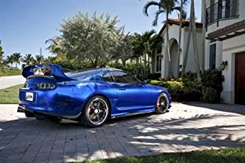 Toyota Supra Single Turbo Right Rear Blue on 360 Forged wheels HD Poster 36 X 24