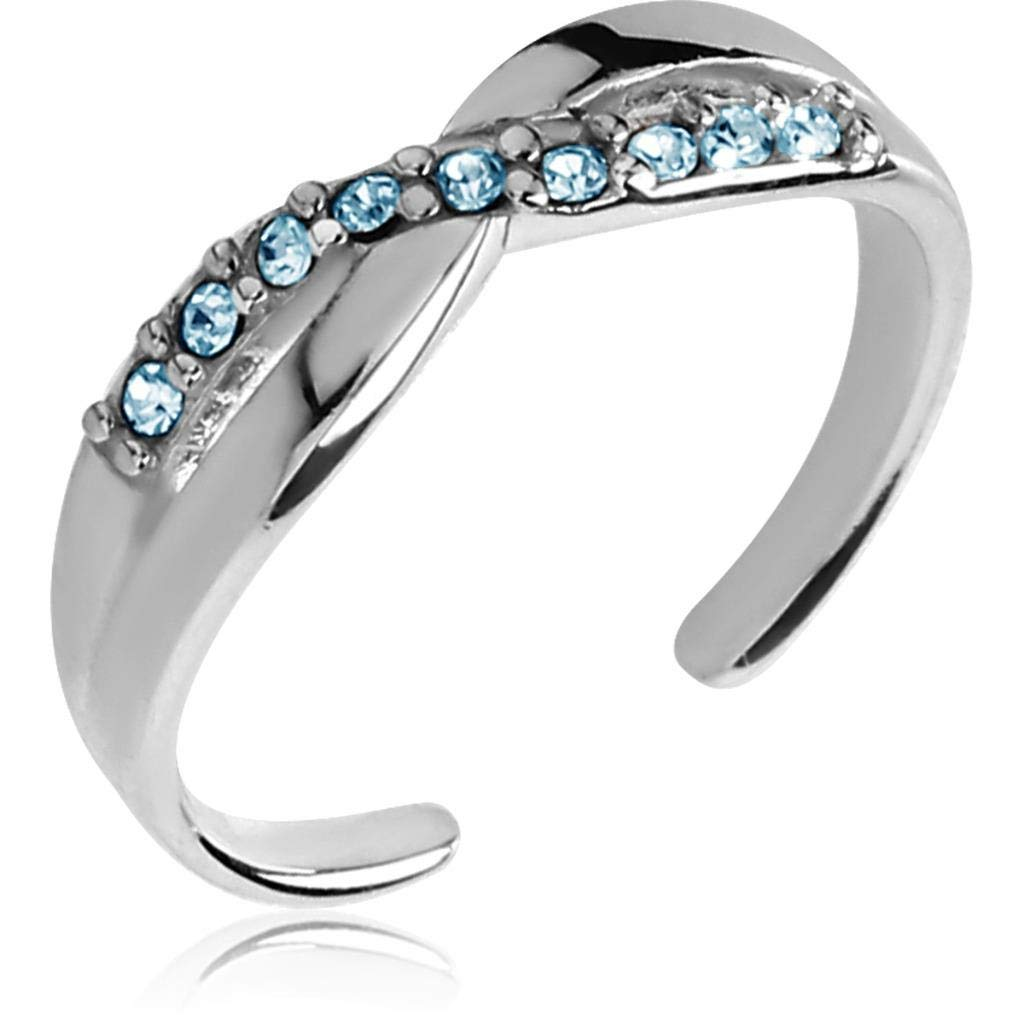 2heart 0.7 Cts Round Sim Diamond & Blue Gemstones Adjustable Toe Ring 14K White Gold Fn SNSTR659