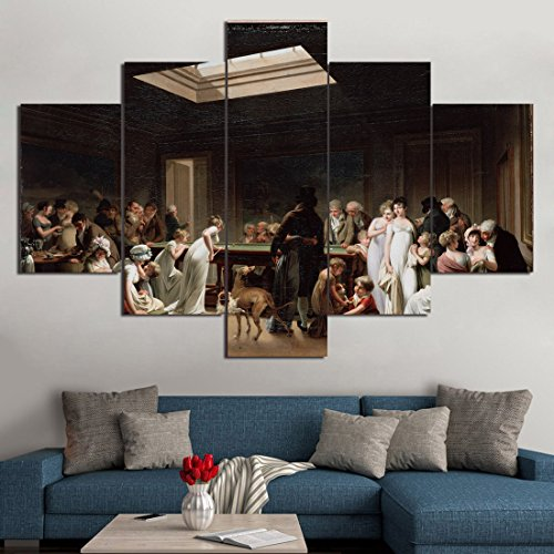 Extra Large Vintage Wall Art Game of Billiards by Louis Leopold Boilly Pictures Home Decor Painting on Canvas Picture for Living Room Retro Modern 5 PCS Framed Gallery Wrap Artwork(60''Wx40''H)