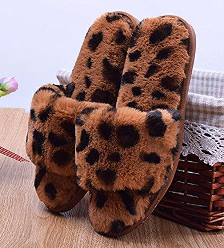 Cattior Kvinna Leopard Inomhus Tofflor Damer Tofflor Öppen Tå Gul