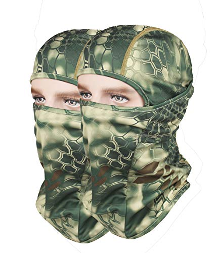 GANWAY Pack of 2 Outdoor Accessories Hunting Fishing Cap Thin Camo Ski Mask Camouflage Motorcycle Headgear Sun Balaclava Hat