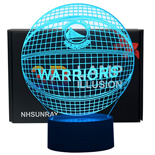 3D Illusion Night Light LED Desk Table Lamp 7 Color Touch Lamp Art Sculpture Lights Birthday Gift for Kids Bedroom Decor (NBA Warriors)