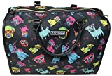 Betsey Johnson Nylon Pug Print Carry On Weekender Travel Duffel Bag - Black Multi
