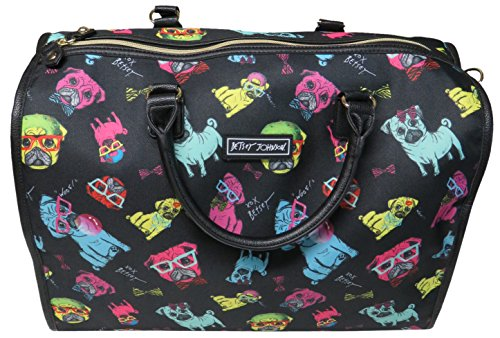 Betsey Johnson Nylon Pug Print Carry On Weekender Travel Duffel Bag - Black Multi by Betsey Johnson