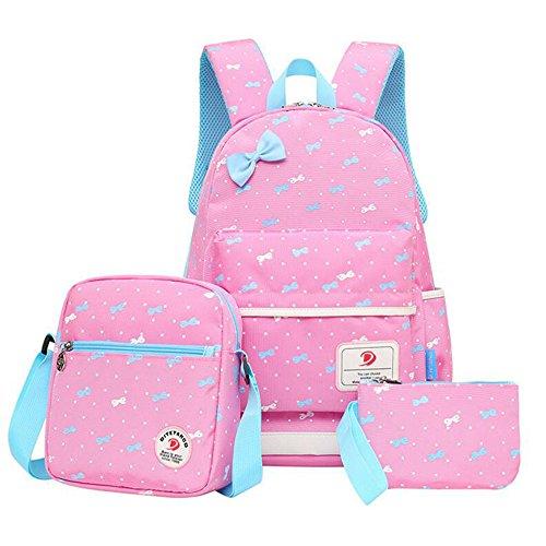 HONEYJOY 3 Pieces Girls School Backpack Set Cute Bookbag for Teens Lightweight Water-Resistant Pink by HONEYJOY (Image #1)