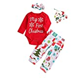 buy cool shower heads Christmas Clothes for Newborn, Baby Girls Boys Letter Printed Romper Jumpsuit Tops + Pants + Headband Outfits Set