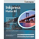 """Inkpress Duo Matte 80 Inkjet Paper, 215 gsm Weight, 12 mil Thickness, 99% Brightness, Double Sided, 11x17"""", 50 Sheets"""