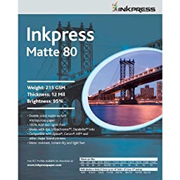 Inkpress Duo Matte 80 Inkjet Paper, 215 gsm Weight, 12 mil Thickness, 95% Brightness, Double Sided, 17x22\