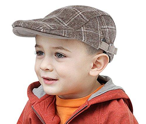 Bellady Child Kids Flat Cap Hat Gatsby Ivy Newsboy Ascot Peaked Plaid Berets,Coffee- Child Size