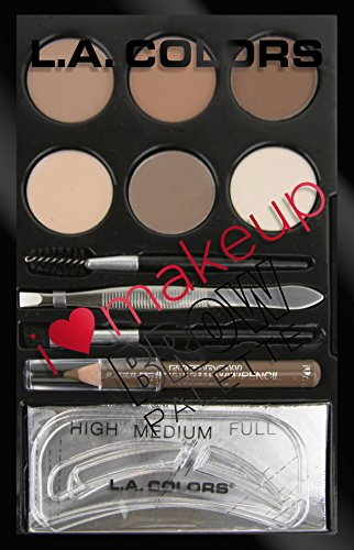 L.A. Colors I Heart Makeup Brow Palette, Light to Medium, 0.26 (Brow Kit)
