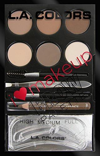 L.A. Colors I Heart Makeup Brow Palette, Light to Medium, 0.26 Ounce
