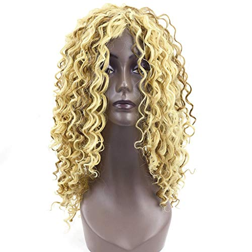 Eoco Wig Women's Fashionable Yellow Long Curly Hair Delicate Rose Net Fluffy Nature Ladies Wig
