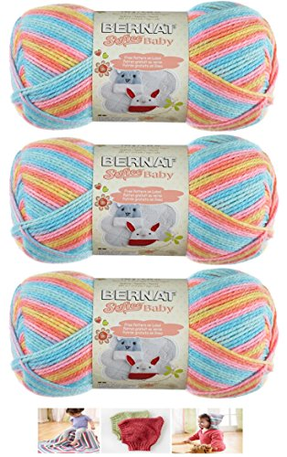 Bernat Softee Baby Acrylic Yarn 3 Pack Bundle Includes 3 Patterns DK Light Worsted #3 (Candy Baby) ()