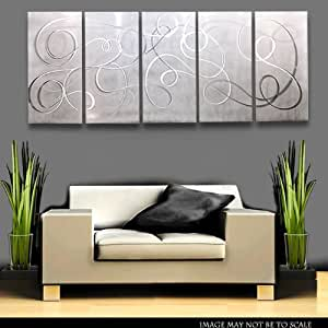 modern white silver metal wall art panel art wall accent decor contemporary. Black Bedroom Furniture Sets. Home Design Ideas