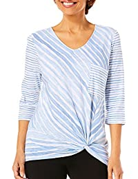 Womens Striped Front Knot Pocket Top