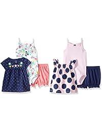 Baby Girls' 6-Piece Bodysuit Tee and Short Set