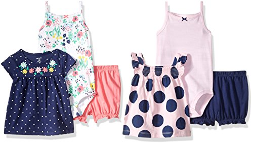 6 Short Body (Carter's Baby Girls' 6-Piece Bodysuit Tee and Short Set, Floral/Dot, 18 Months)