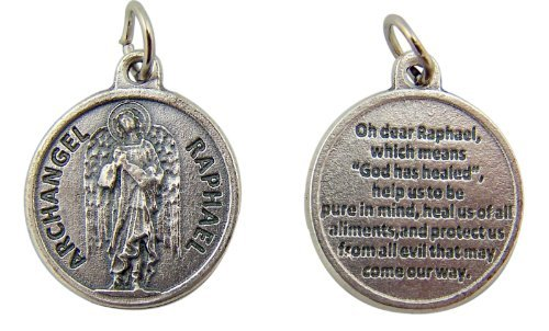 Catholic Keepsake Gift 3/4-inch Dia Saint St Raphael the Archangel with Prayer Proection Medal Pendant Charm (Medal Pendant Raphael)