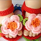 Tinksky Cute Cartoon Flower Style Baby Newborn Toddler Infant Girls Hand-knitted Wool Crochet Crib Shoes Sandals (Pink+Red)