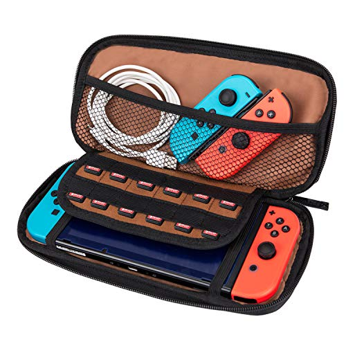 NiceEbag Nintendo Switch Carrying Case Deluxe Travel Case with 12 Game Cartridges Protective Hard Shell Game Traveler Carrying Case Pouch for Nintendo Switch Console & Accessories,Brown