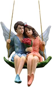 Hemoton Fairy Garden Couple Fairy Accessories Miniature Fairy Figurine Hanging Statuary Indoor Outdoor Ornaments Gifts for Valentines Day Girls Boys Adults